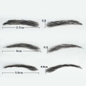 Image 3 - SalonChat Hand Tied False Lace Eyebrows 100% Human Hair Eyebrows human Hair invisible Handmade Fake Eyebrows For Women/Man