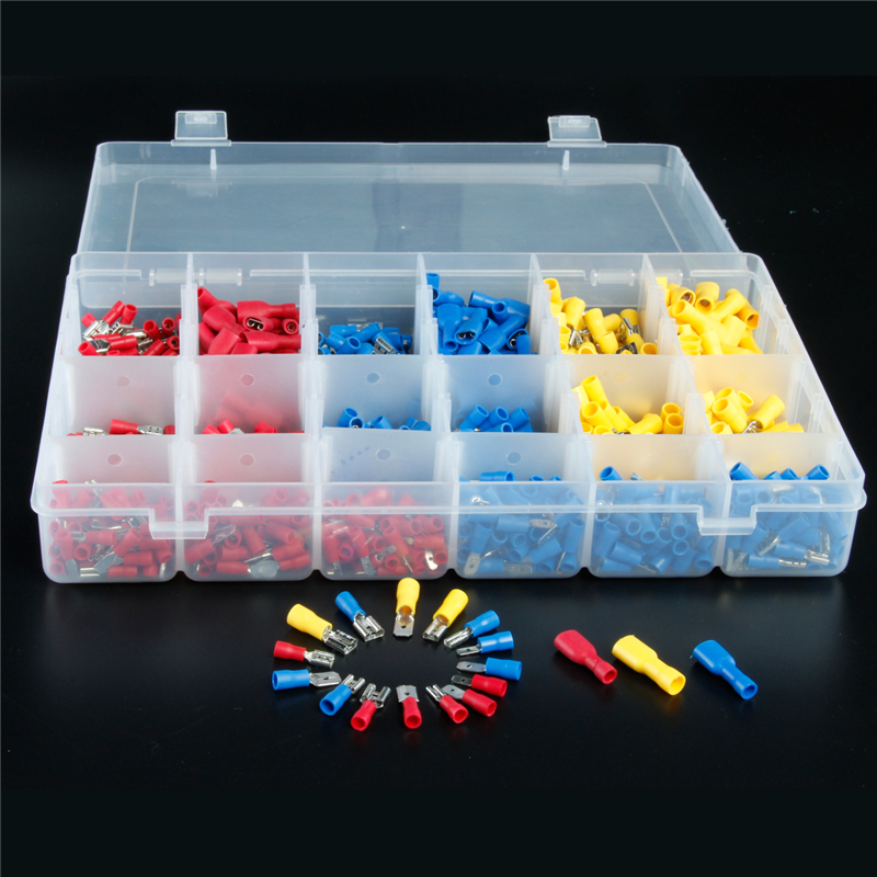 900Pcs Assorted Insulated Electrical Wire Terminals Crimp Cable  Connector Spade Set Red Yellow Blue AWG 22-10 200 pcs blue insulated crimp receptacle terminals cable lug frd2 195 awg 16 14