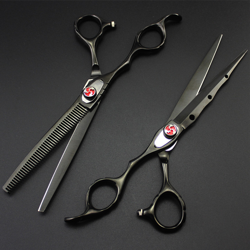 Professional Japan Left Hand 7 Inch Laser Wire Hair Scissors Serrated Cutting Solan Barber Thinning Shears Hairdressing Scissors
