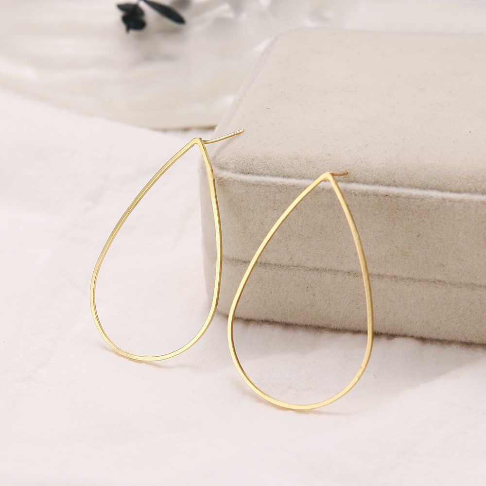 Đầm Giọt Nước Hình Bầu Dục Bông Tai Dành Cho Nữ Màu Vàng Hình Học Tuyên Bố Bông Tai Kim Loại Treo Trang Sức Thời Trang