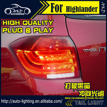 AKD Car Styling Tail Lamp for Toyota Highlander Tail Lights 2012-2013 LED Tail Light Signal LED DRL Stop Rear Lamp Accessories