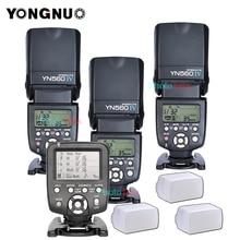 3x 무선 Speedlite 플래시 Yongnuo YN560 IV + YN560TX 플래시 컨트롤러 캐논 니콘에 대 한 무료 3 플래시 기관총 상자