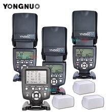 3xไร้สายแฟลชSpeedlite Yongnuo YN560 IV + YN560TXแฟลชสำหรับCanon Nikonฟรีแฟลช3กล่อง
