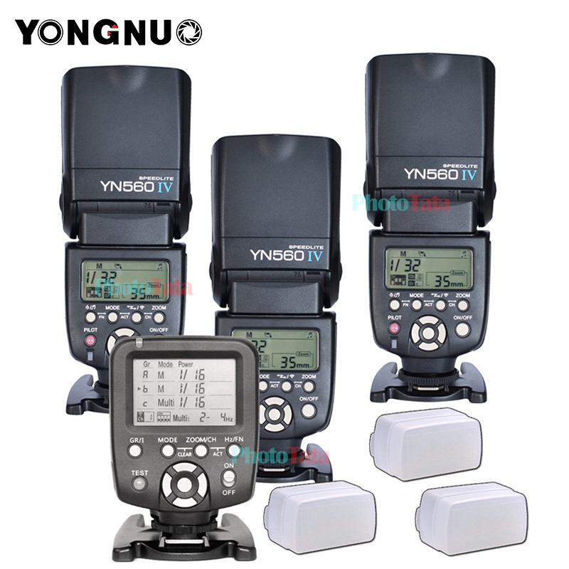 3x Wireless Flash Speedlite Yongnuo YN560 IV + YN560TX Controller Flash Per Canon Nikon con trasporto 3 Flash Box Diffusore