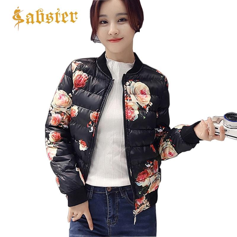 Winter Jacket Women 2018 New Fashion O Collar Coat Female   Parkas   Floral Printed Down Padded Jacket XZ064