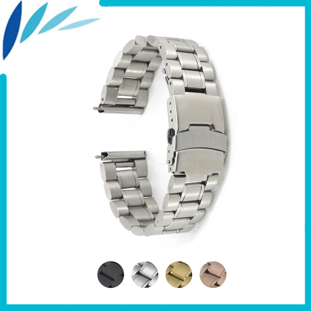 Stainless Steel Watch Band 16mm 18mm 20mm 22mm for Seiko Safety Clasp Strap Loop Belt Bracelet Black Rose Gold Silver + Tool stainless steel watch band 24mm for suunto core safety clasp strap loop belt bracelet black rose gold silver tool lug adapter