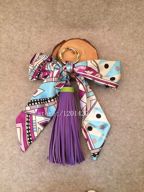 silk ribbon karl monster bag charms Genuine Lambskin tassel bag tags pendant luxury purse charm