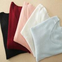 High Grade Pure Goat Cashmere Women New Fashion Basics Sweater Pullover V Neck Slim Fit Apricot
