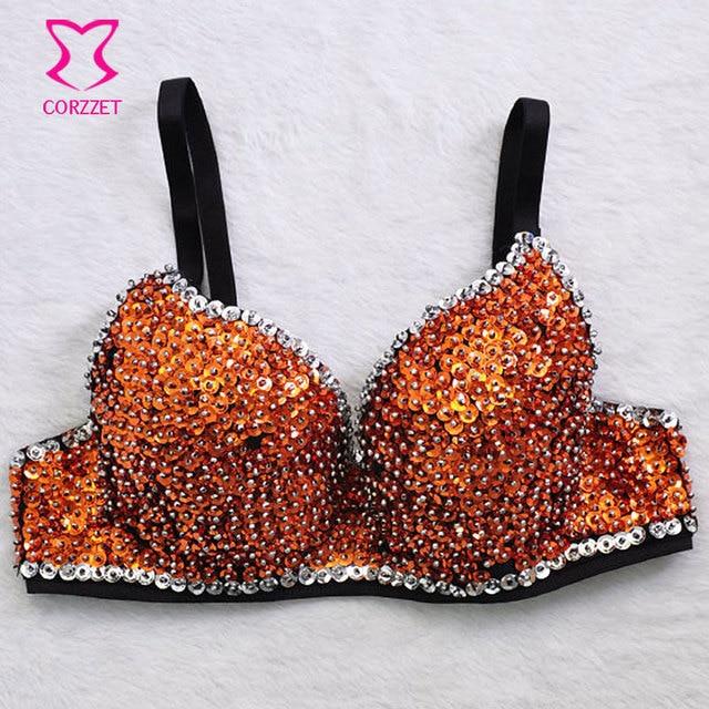 845c0ab1592dd Orange Beads   Sequin Sostenes Muje Push Up Bra Bralette Top Burlesque Bras  Underwear Women Brassiere