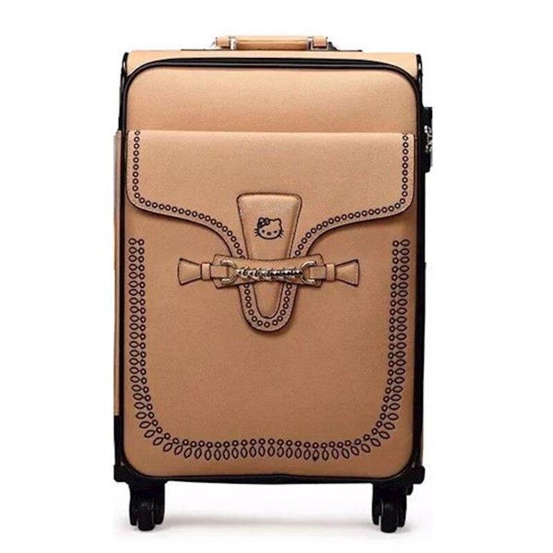 KUNDUI Vintage PU Fashion High Quality Rolling Luggage 4 Wheels Women Trolley Suitcase 20 24 Inches Zipper Handbag Travel Bags