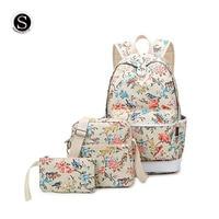 Senkey Style Women Backpack Canvas Printing Flower Bird Landscape Plant School Bags For Teenagers Girls Designer