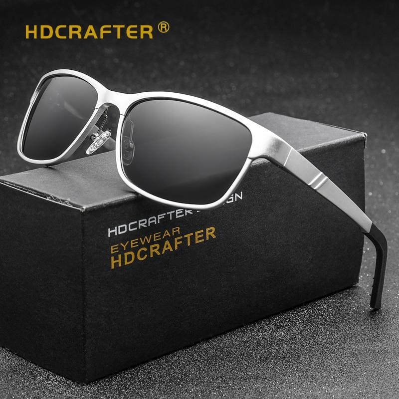 0e66792f2e243 HDCRAFTER Brand Designer Sun Glasses Aluminum magnesium polarized driving  Sunglasses mens Vintage Square Mirror Sunglasses