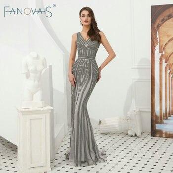 5d9dbcae5 De plata con cuentas vestidos De noche largo sirena Vestidos De Noche De  lujo Vestido De baile Vestido De Fiesta Longo Vestido De Mariee vestidos  formales
