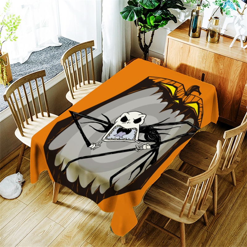 Halloween Pumpkin Lantern Tablecloth Skull Pattern For Children Polyester Comfortable Waterproof Table Cloth Cover For Home