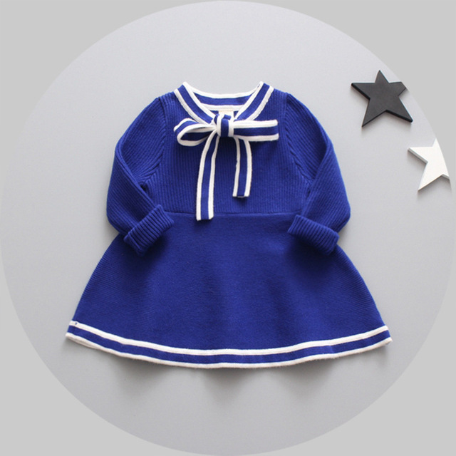 4b8637f1f50 2017 Spring Casual Baby girls kids Simple striped knitting sweater bow Dress  Children Princess infants dresses