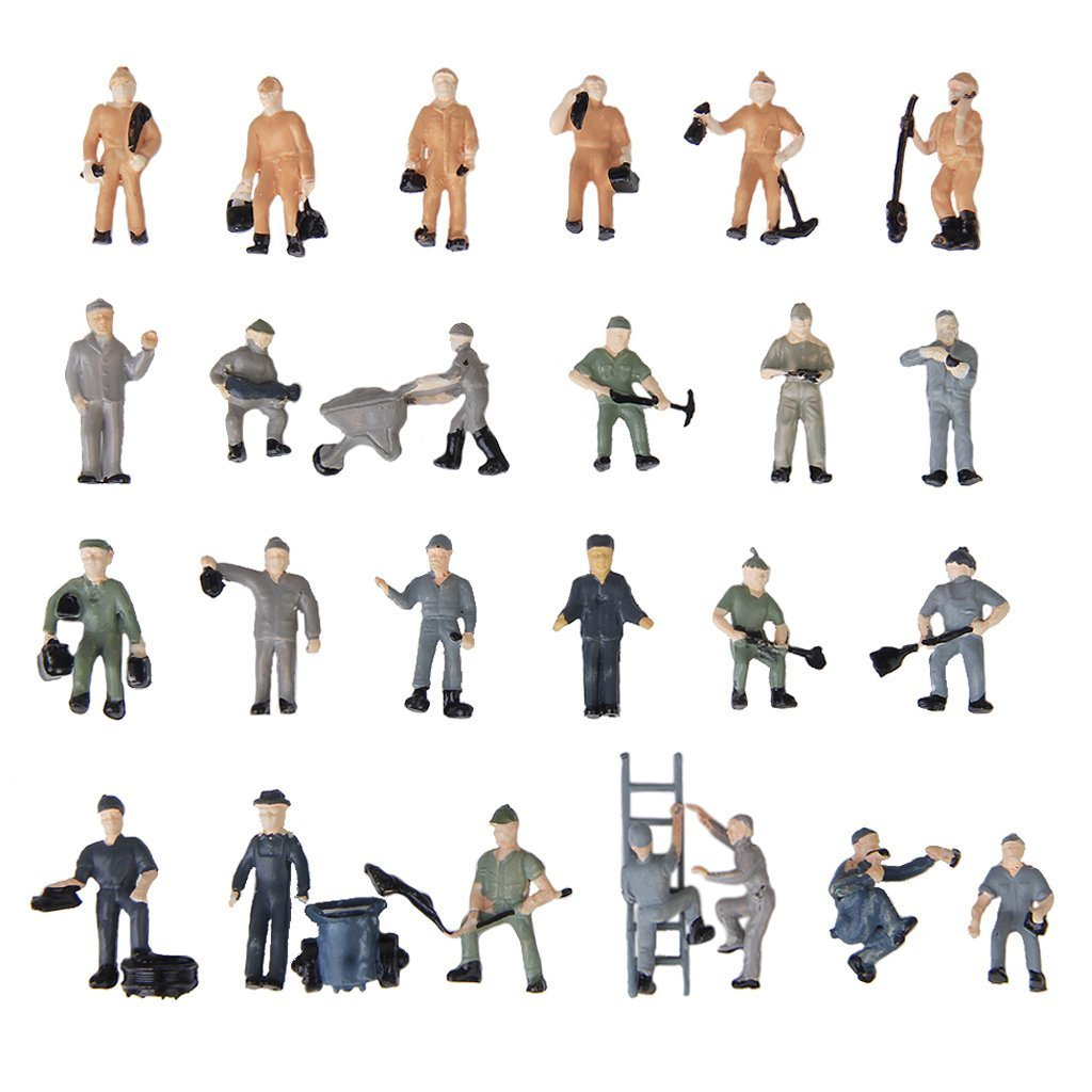 25pcs 1:87 Figurines Painted Figures Miniatures of Railway Workers with Bucket and Ladder