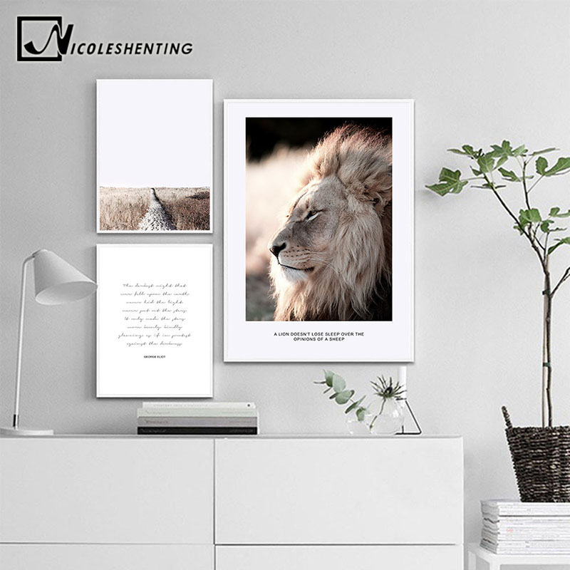 Wall Art Canvas Nordic Poster Print Lion Animal Landscape Painting Decorative Picture for Living Room Scandinavian Home Decor in Painting Calligraphy from Home Garden