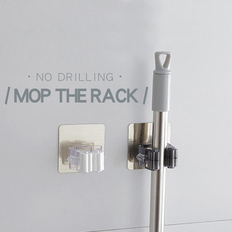Montado en la pared Organizador de la fregona Holder Rack Self - Organización y almacenamiento en la casa