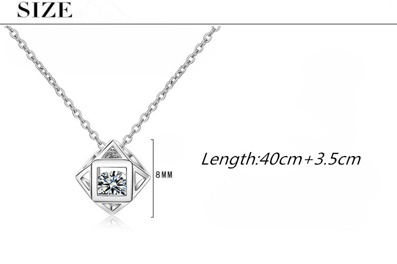 Everoyal Charm Silver 925 Girls Choker Necklace Jewelry Vintage Crystal Cube Women Pendant Necklace For Lady Accessories Female in Pendant Necklaces from Jewelry Accessories
