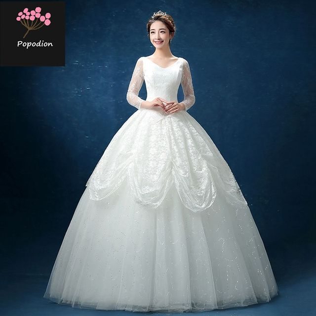 V Neck Korean Style Wedding Gowns Ball Gown Plus Size Wedding Dresses With Lace Sleeve Wed90156