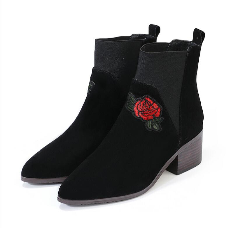 Kaeve New Black Nubuck Leather Ankle Boots Woman Chunky Heels Pointed Toe Mid-Calf Boots Spring/Autumn Botas Martin Boots