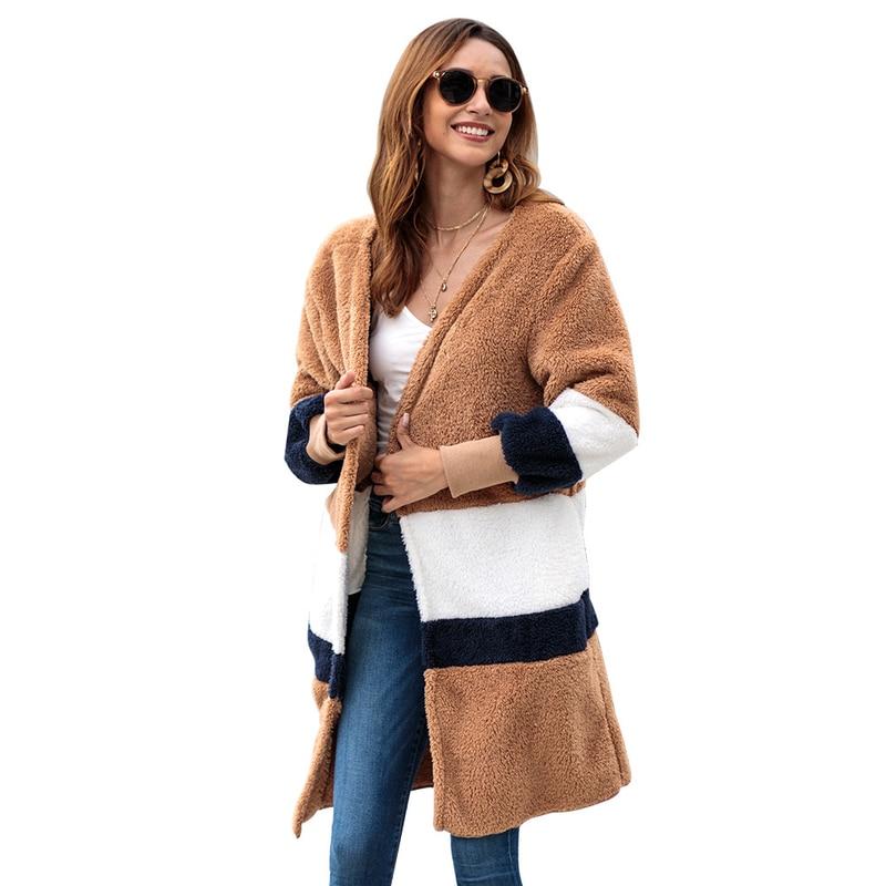 Elegant Faux Fur Coat Women Autumn Winter Warm Thick Soft Slim Striped Cardigan Plus Size Loose Casual Fur Jacket Outwear Top