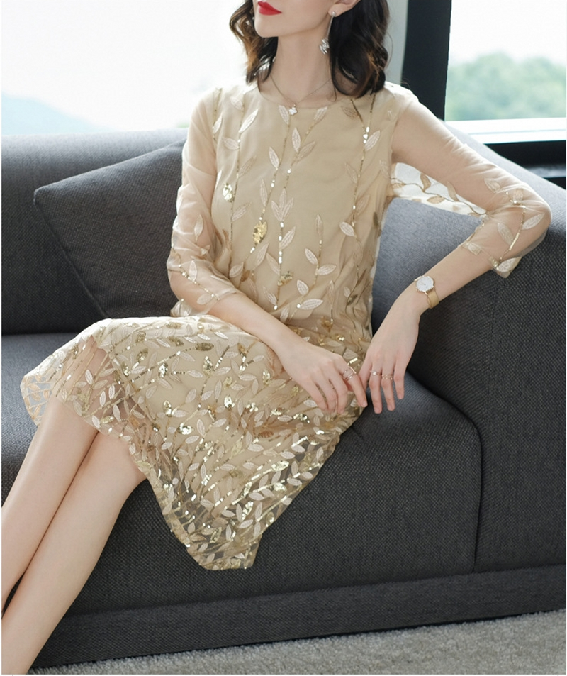 Robe De Soriee 2019 New Gold Women's Gradient Mother Of The Bride Dress A-lien Embroidery Wedding Party Banquest Dress Vestiods
