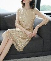 robe de soriee 2019 New Gold Women's Gradient Mother Of The Bride Dress A lien Embroidery Wedding Party Banquest Dress Vestiods