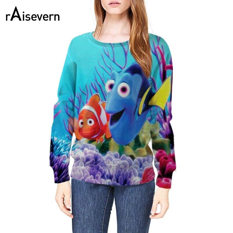 Raisevern brand new design 3D sweatshirt cartoon finding nemo fish coral in blue sea print hoodies long sleeve sweatsuits hoody