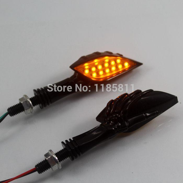 Black Custom Skull LED Turn Signal Light Indicator For