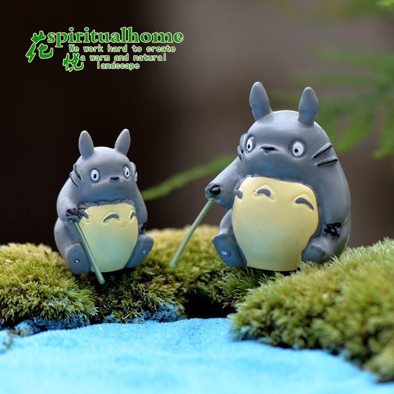 1pcs Fishing Totoro Garden Miniature Moss Micro-landscape Pendulum Fairy Garden Figures Resin Crafts  Home Decor