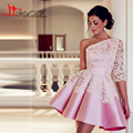 One Shoulder Long Sleeve Ivory Appliques Lace Ball Gown Short Pink Prom Dress Evening Gowns 2016 Arabic Style vestidos de fiesta