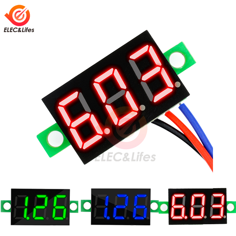<font><b>0</b></font>.36 inch Voltage Meter <font><b>DC</b></font> <font><b>5</b></font>-30V Mini 3 Bits Digital LED Display Panel Voltmeter Tester Measure <font><b>0</b></font>-30V Red/Blue/Green Display image