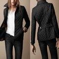 Плюс размер Мода марка дизайн короткий Тонкий turn down воротник плед стежка ватные куртки пальто шинель зимняя куртка женщин