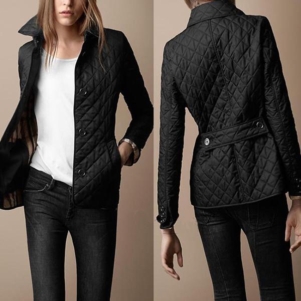 Más el tamaño de La marca de Moda del diseño corto Delgado da vuelta abajo al collar a cuadros acolchar wadded parka chaqueta abrigo abrigo de invierno chaqueta de las mujeres