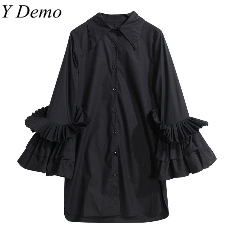 High Street Solid Color Elegant Ruffles Sleeve Womens Shirt Turn-down Collar Blouse Women Clothing