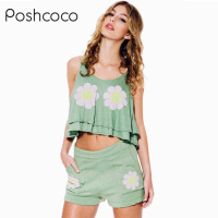 Real Brand 2 Piece Set Sunflower Print Low Waist Shorts Summer Style Fitness Hot Shorts For