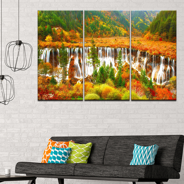 Canvas Painting Landscape Colorful Nature Trees 3 Pieces Wall Art Modular Sport Wallpapers Poster Print