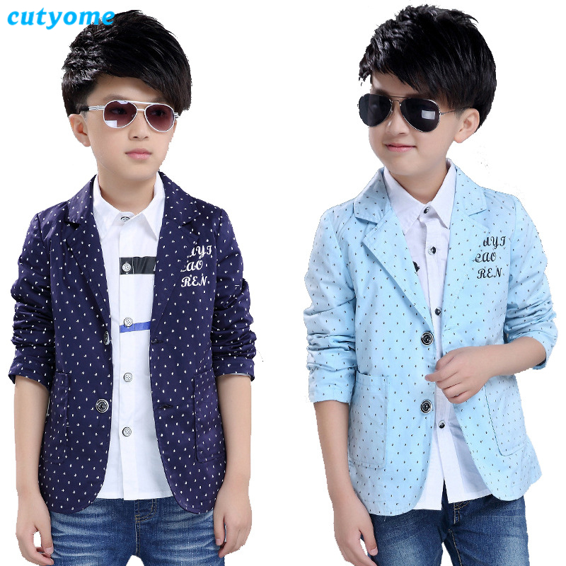 Cutyome 4-13 Yrs Fashion Kids Jackets Toddler V-Neck Single Breasted Pattern Boys Casual Blazers for Wedding * Child Proms Suits