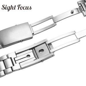 Image 4 - 20 มม.22 มม.สแตนเลสสำหรับนาฬิกา Omega Seamaster 300 231 นาฬิกาสายคล้องคอสร้อยข้อมือโลหะพับ Clasp เงิน 007