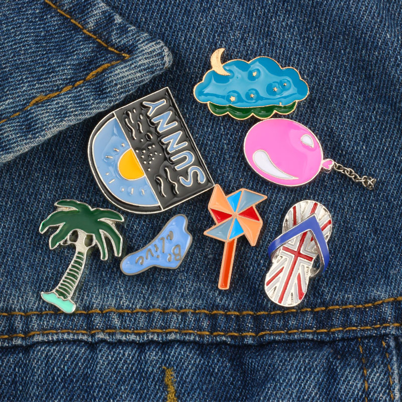 US $0.58 41% OFF|Summer Style Cute Cartoon Brooches Sunny Day Slippers Windmill Balloon Cloud Tree Enamel Pins Clothes Coat Pin Bag Badge