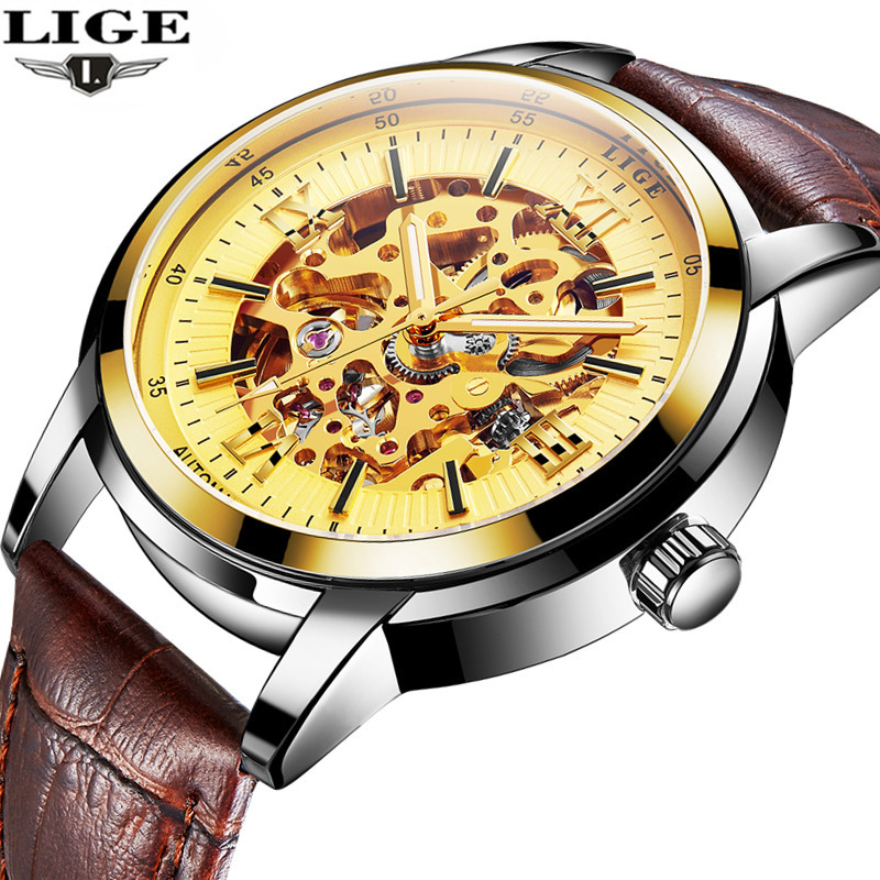 New LIGE Luxury Brand Men's Automatic Watches Men Fashion Casual Watch Man Waterproof Leather Business Clock relogio masculino weide popular brand new fashion digital led watch men waterproof sport watches man white dial stainless steel relogio masculino