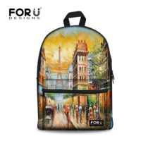 FORUDESIGN Women Backpack For Teenagers Girls School Bags Vintage 3D Eiffel Tower Printing School Backpacks Canvas Mochilas Boys