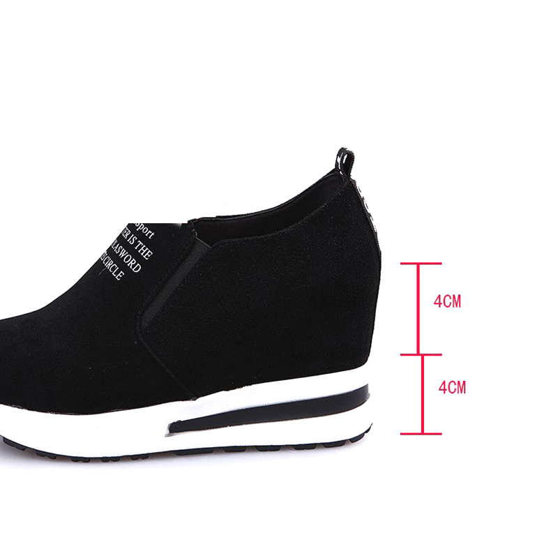 E TOY WORD Womens sneakers Spring Autumn casual shoes slip-on black/Red Casual Platform Shoes Breathable Height Increasing Shoes