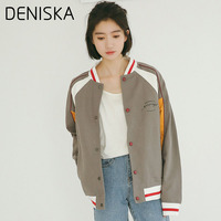 DENISKA 2018 New Spell Color Wild Casual Baseball Casual Letters Printing Jacket Coat Female Fashion College