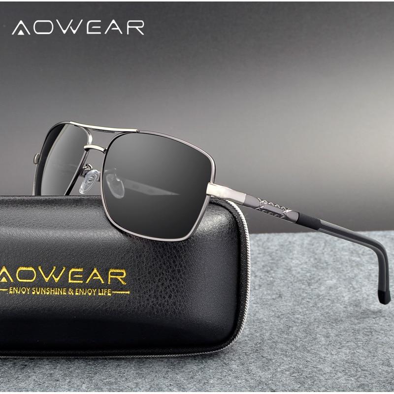 AOWEAR Men Polarized Sunglasses Man Aluminum Alloy Rectangle Sun Glasses For Driving Shades Male Driver Google Oculos Masculino