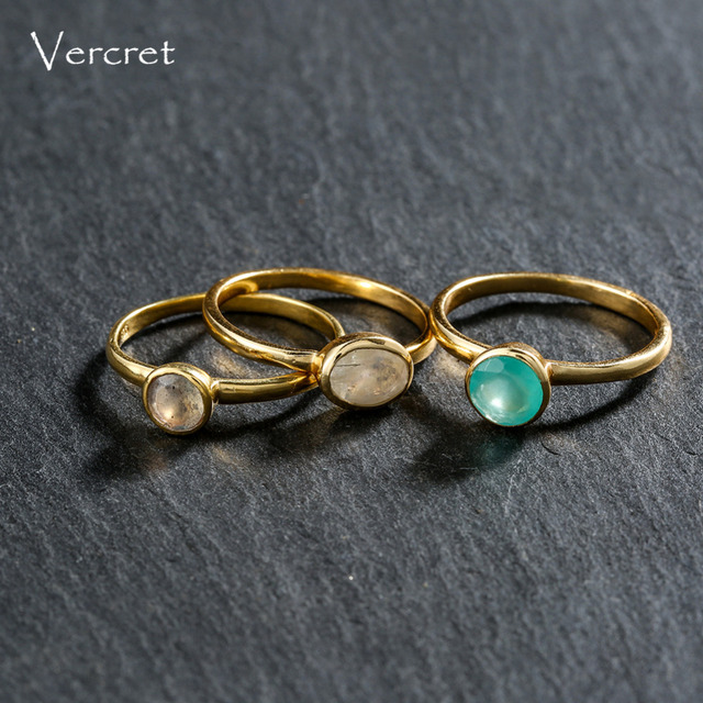 Vercret moonstone ring for women stackable rings 925 sterling silver gold moonstone rings set fine jewelry gifts  presale