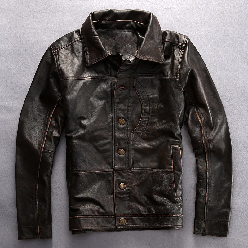 Factory 2017 New Men's Brown Genuine Leather Jackets Men Genuine Real Cowhide Brand Male Bomber Motorcycle Biker Coats