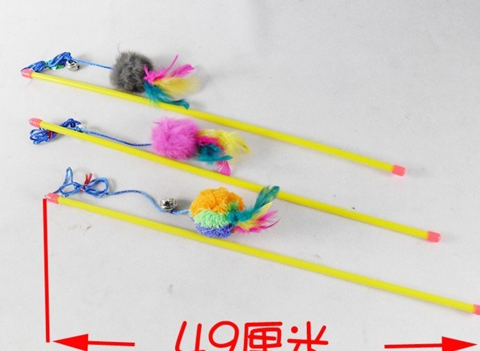Big size cat play toy cat fishing rod 49cm promotional for Cat toy fishing pole