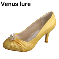 Closed Toe Yellow Shoes for Women Mid Heels Prom Court Pumps with Pearls